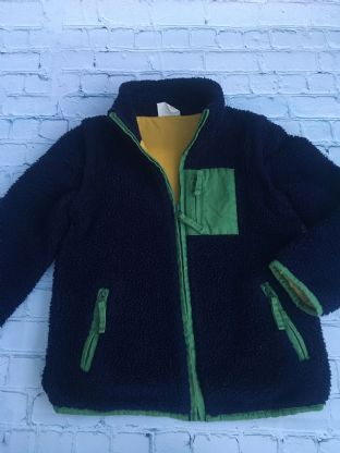Mini Boden very thick navy zip up fleece with yellow lining age 5-6